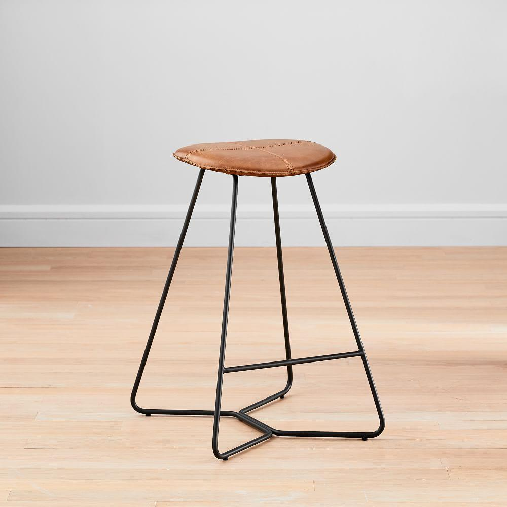 Slope Leather Backless Counter Stool