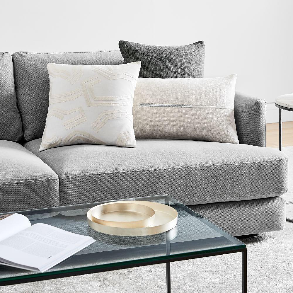 Accented Cotton Canvas Lumbar Cushion Cover