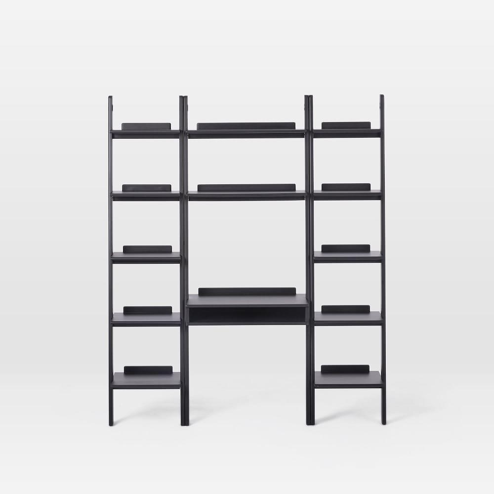 Modern Leaning Wall Desk + 2 Narrow Bookshelves Set