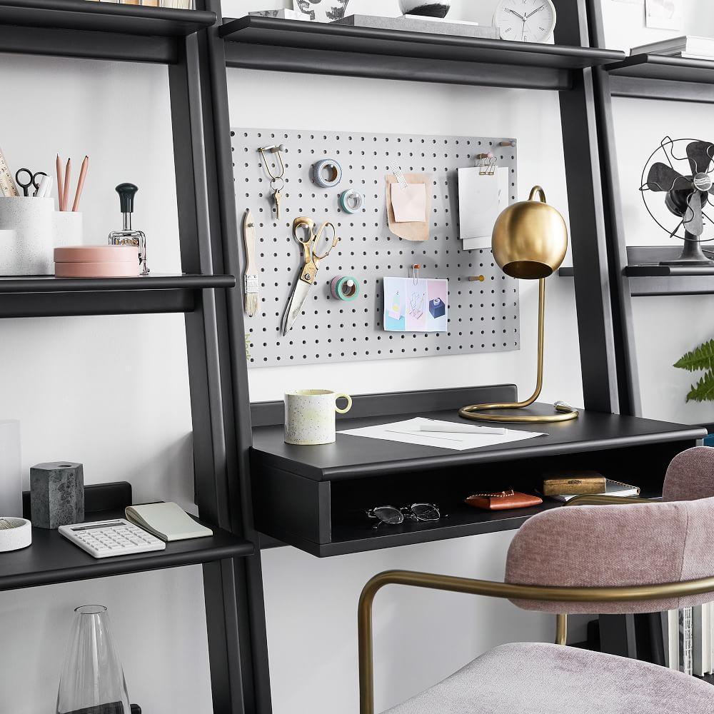 Modern Leaning Wall Desk + 2 Wide Bookshelves Set