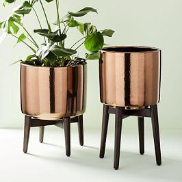 Mid-Century Turned Wood Leg Planters - Metallic