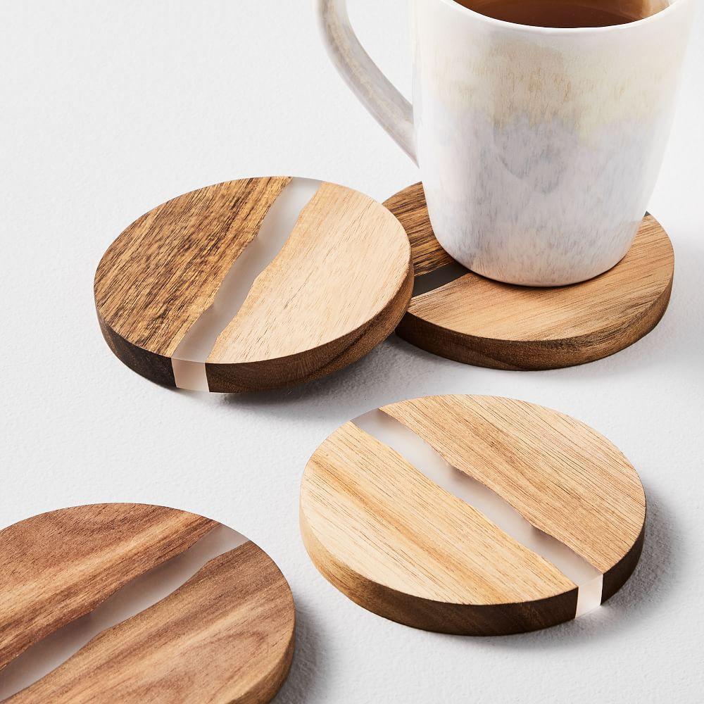 Wood + Resin Coasters (Set of 4)