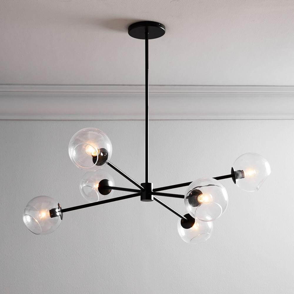 Staggered Glass 6-Light Chandelier - Clear/Antique Bronze