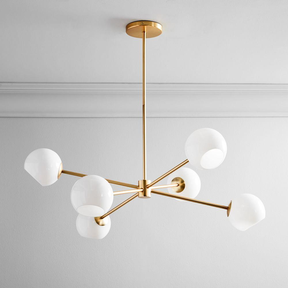 Staggered Glass 6-Light Chandelier - Milk/Antique Brass