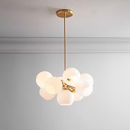 Staggered Glass 9-Light Chandelier - Milk/Antique Brass