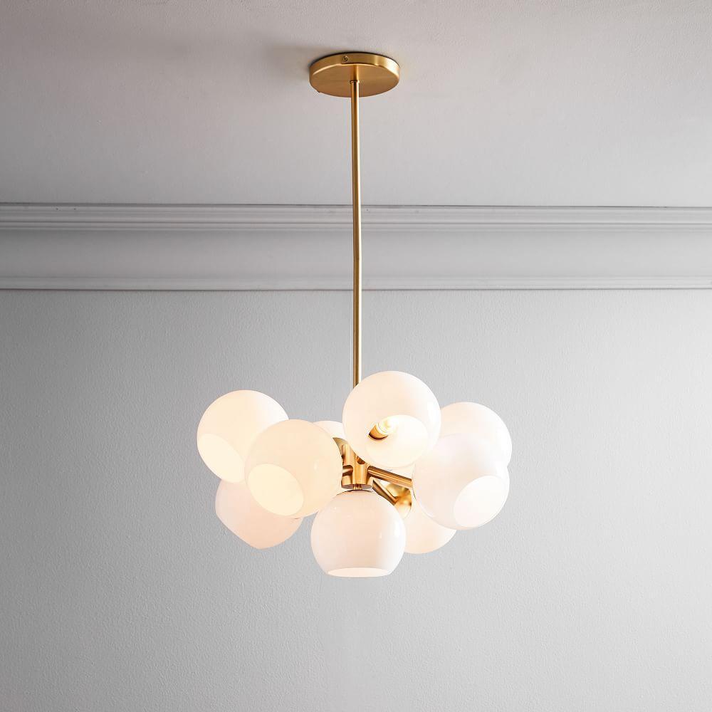 Staggered Glass 9-Light Chandelier - Milk/Antique Brass