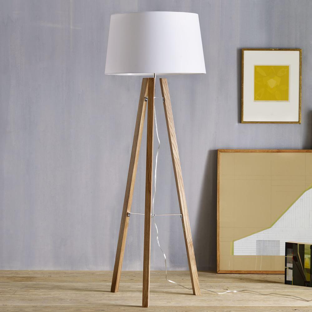 tripod wood floor lamp west elm uk. Black Bedroom Furniture Sets. Home Design Ideas