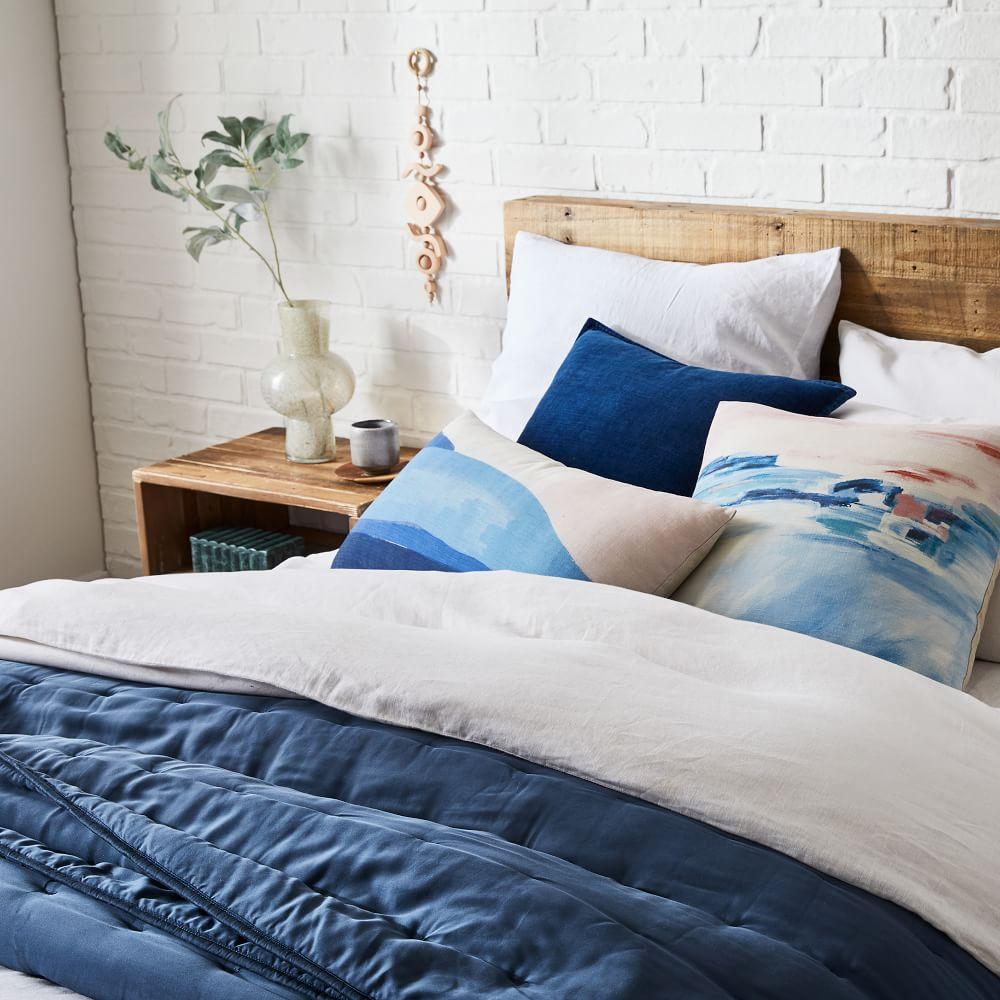 TENCEL™ Crescent Stitch Bedspread + Pillowcases - Light Indigo