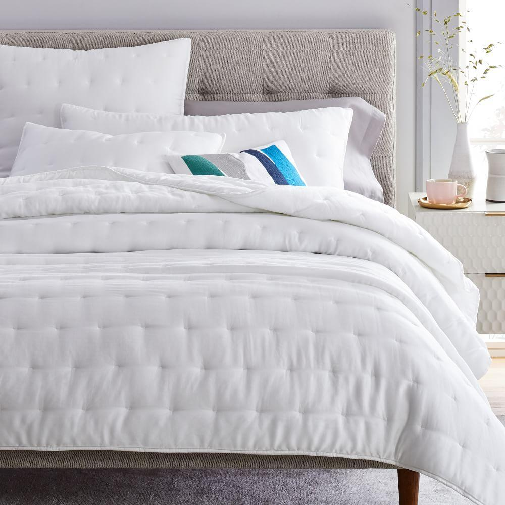 TENCEL™ Crescent Stitch Bedspread + Pillowcases- Stone White