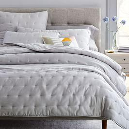 TENCEL™ Crescent Stitch Bedspread + Pillowcases- Frost Grey