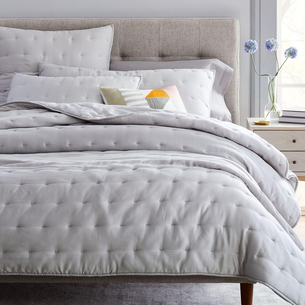 TENCEL™ Crescent Stitch Bedspread + Shams - Frost Gray