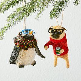 Bottle Brush Hipster Animal Ornaments