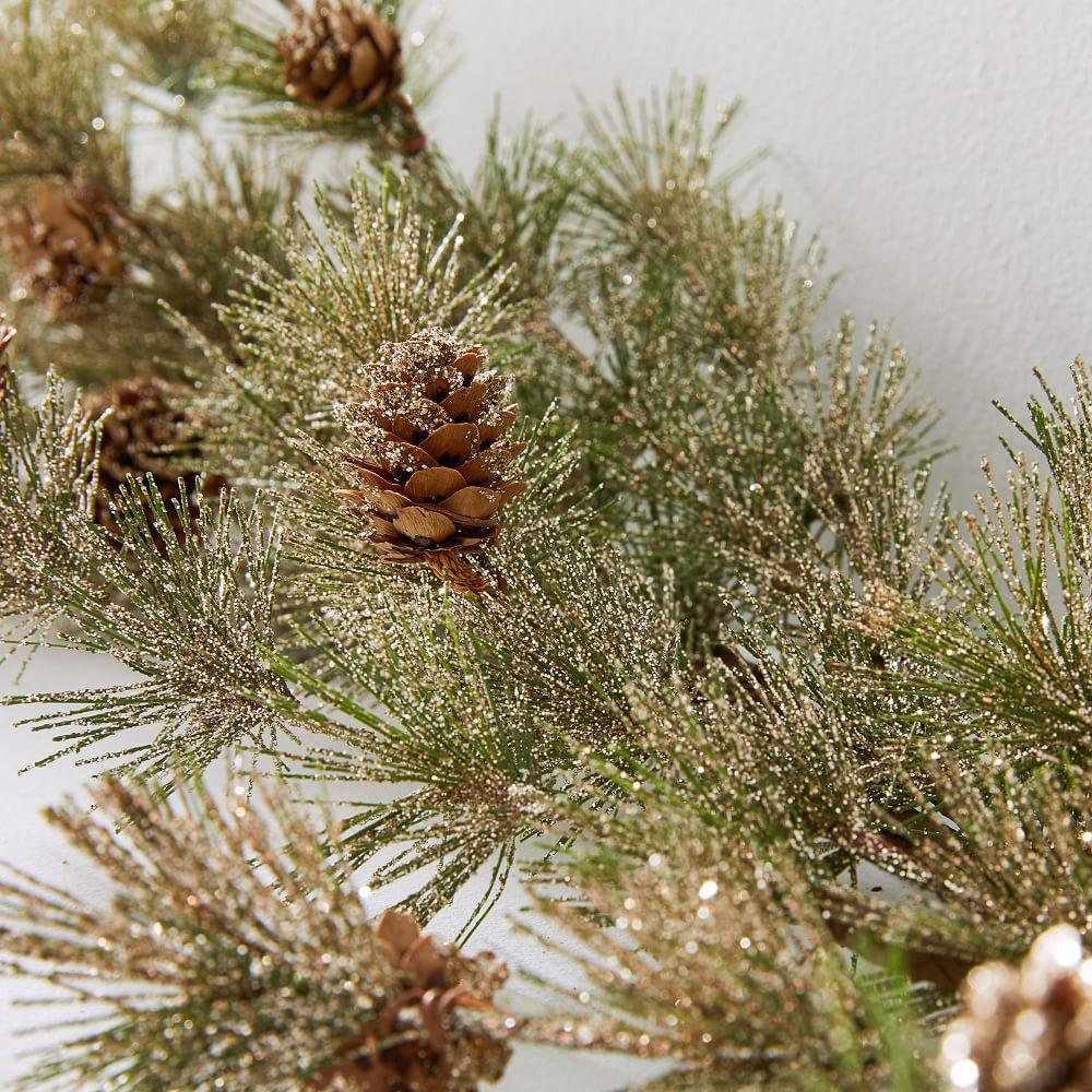 Pine Garland with Pinecones - Gold