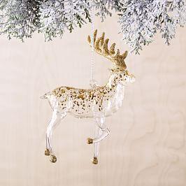 Glass + Gold Reindeer Ornament