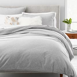 Organic Flannel Solid Duvet Cover + Pillowcases