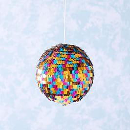 Rainbow Disco Ball Tinsel Ornament