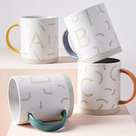 Wax Resist Monogram Mugs