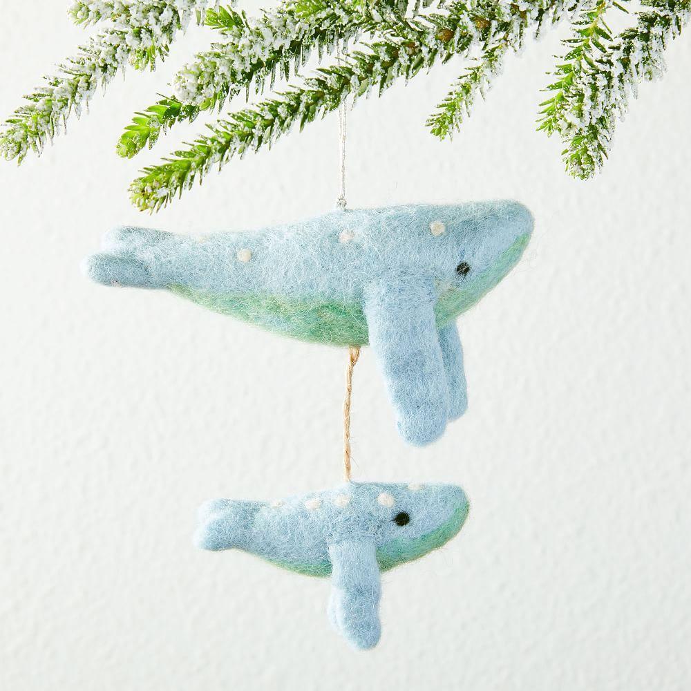 Whimsical Felt Ornament - Whale Pair