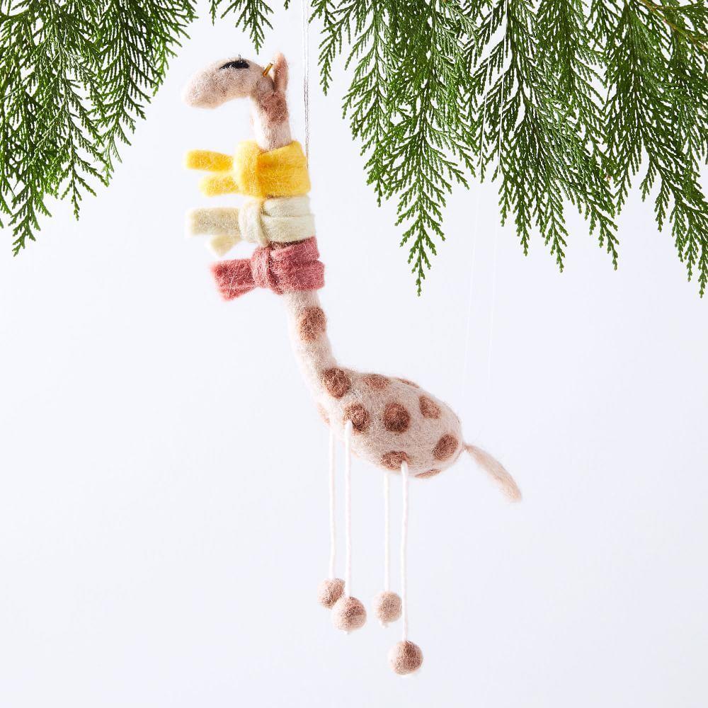 Whimsical Felt Ornament - Giraffe in Scarf