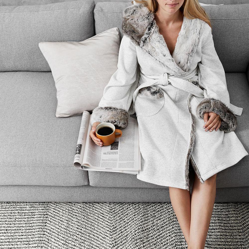 Faux Fur Lined Jersey Robe