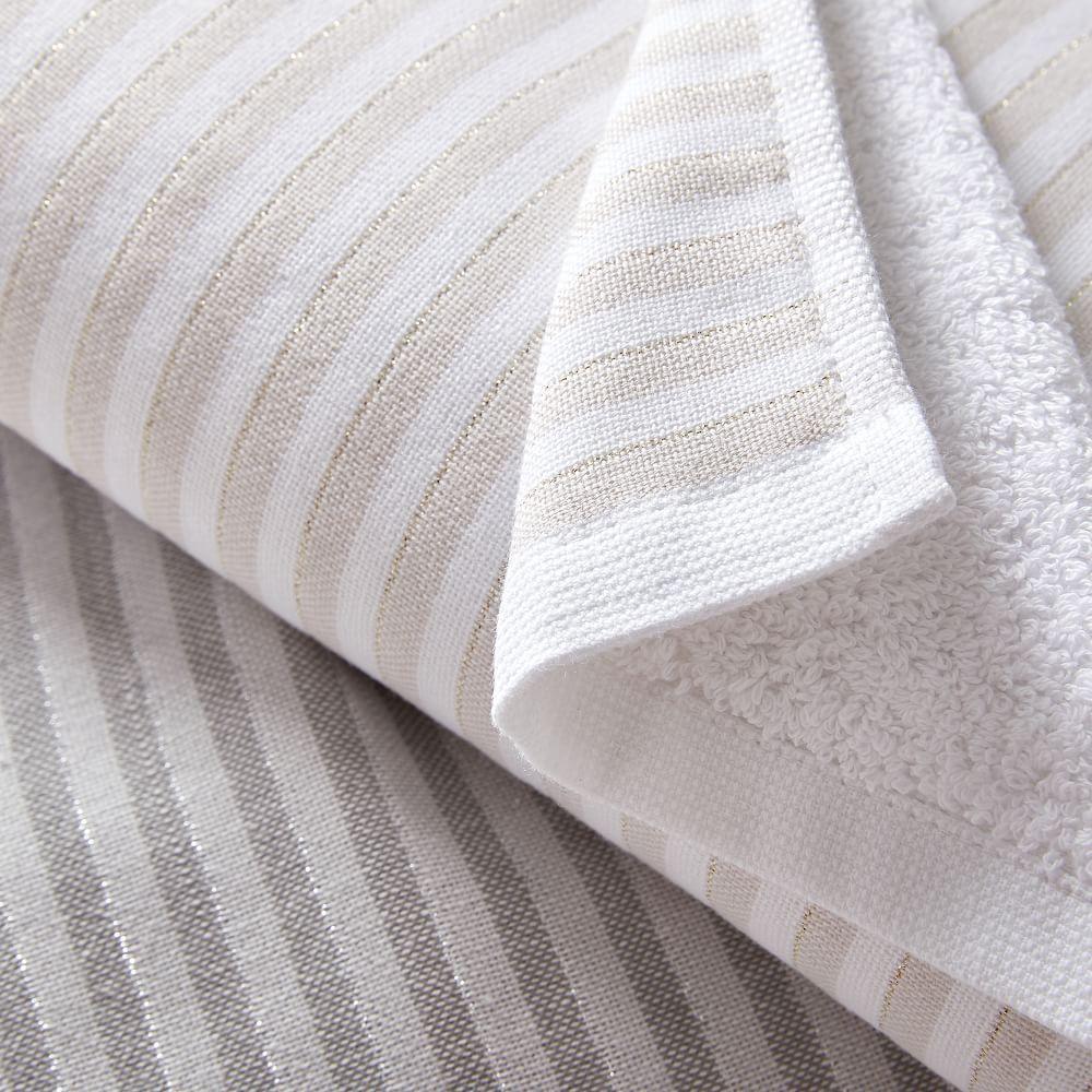 Organic Metallic Stripe Hand Towels (Set of 2)