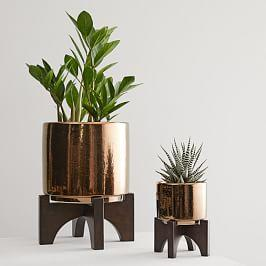 Mid-Century Turned Wood Leg Tabletop Planters - Bronze