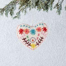 Embroidered Felt Heart Ornament