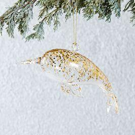 Glass Sea Creature Ornament - Narwhal