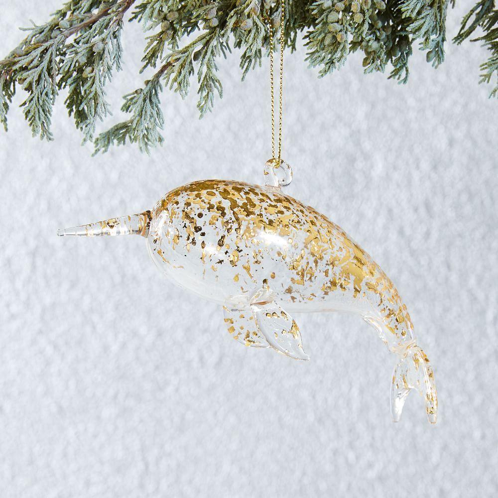 Glass Sea Creature Ornament - Narwhal