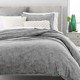 Organic Flannel Dotted Jacquard Duvet Cover + Pillowcases - Heathered Grey