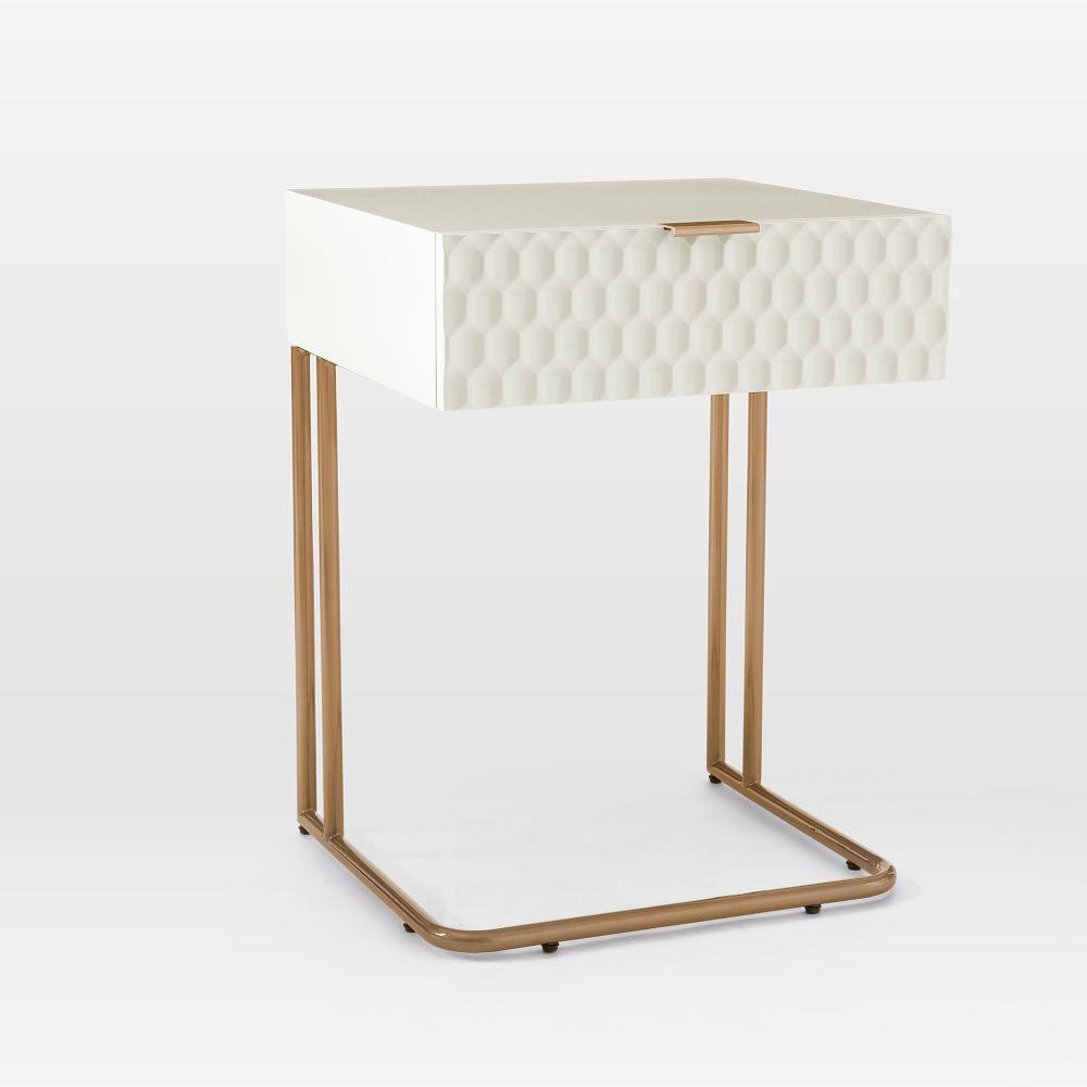 Audrey C-Shaped Bedside Table - Parchment
