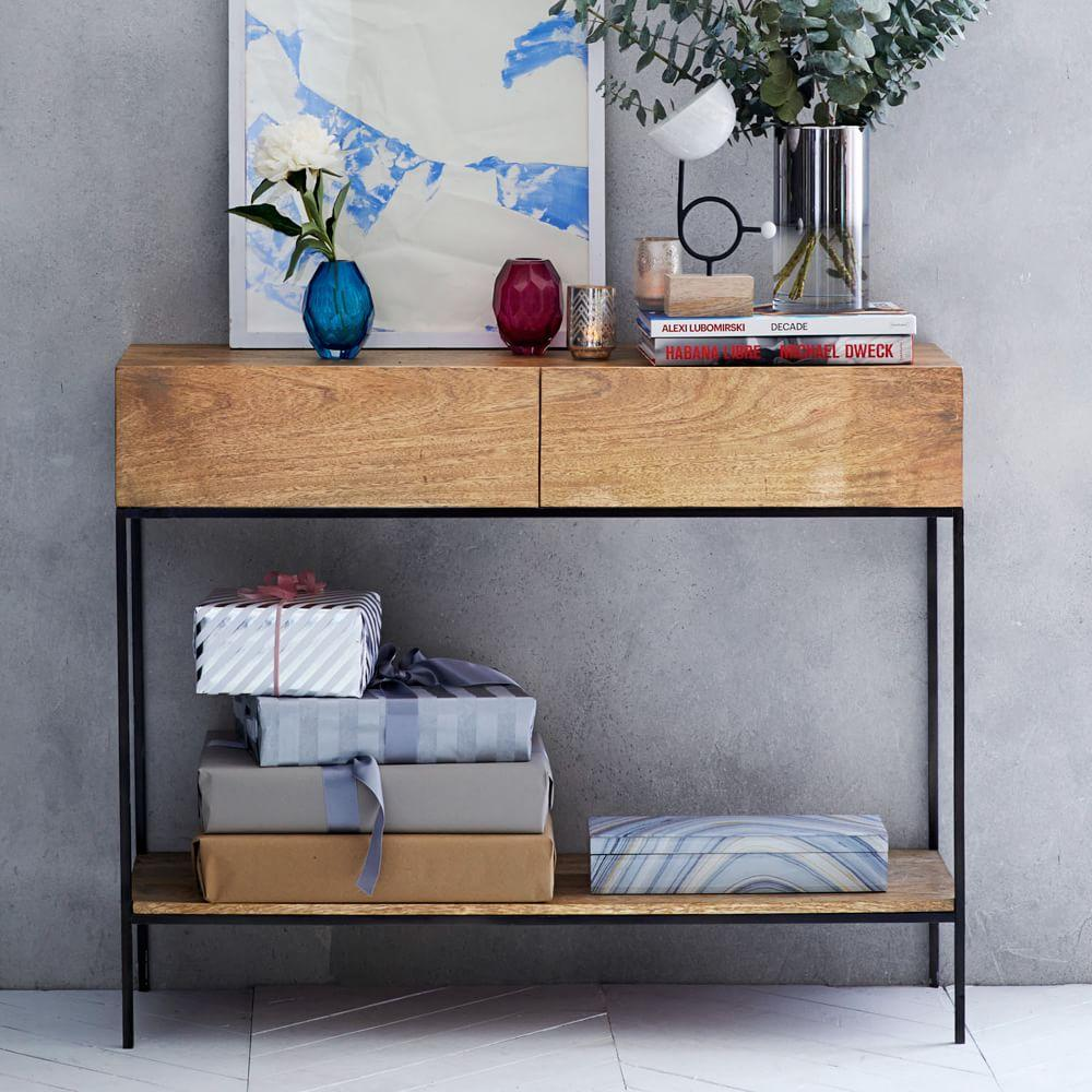 Industrial storage console west elm uk for West elm industrial storage coffee table