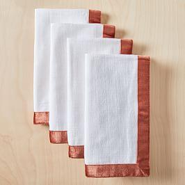 Lustre Velvet Border Napkin Set (Set of 4)