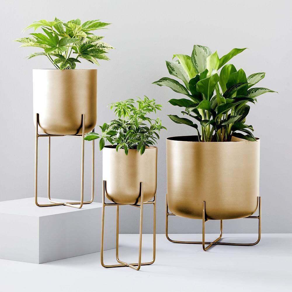 Spun Metal Standing Planters - Brass