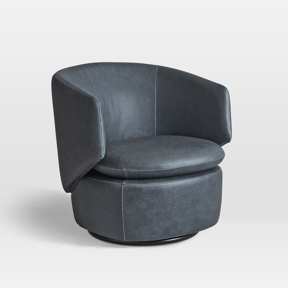 Crescent Leather Swivel Chair