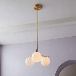 Sphere + Stem 3-Light Chandelier - Brass