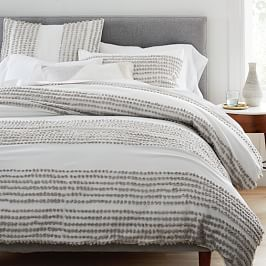 Candlewick Duvet Cover + Pillowcases, Stone Grey + Stone White