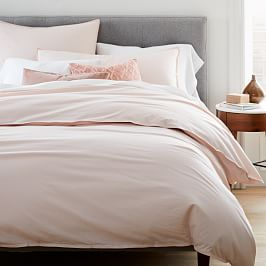 Organic Washed Cotton Percale Duvet Cover + Pillowcases - Pink Champagne