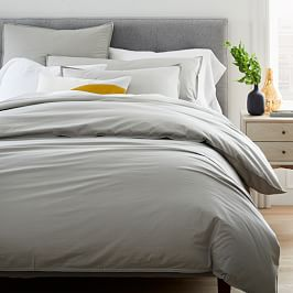 Organic Washed Cotton Percale Duvet Cover + Pillowcases - Platinum