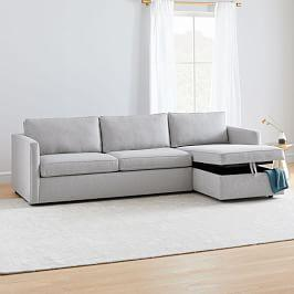 Harris Sleeper Sectional w/ Storage Chaise - Chenille Tweed