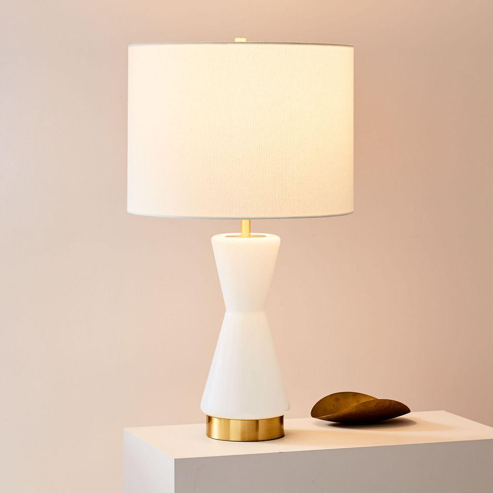Metalised Glass Table Lamp + USB - Large (White)