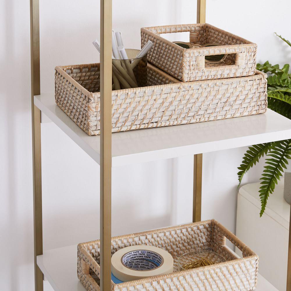 Modern Weave Basket - Whitewashed