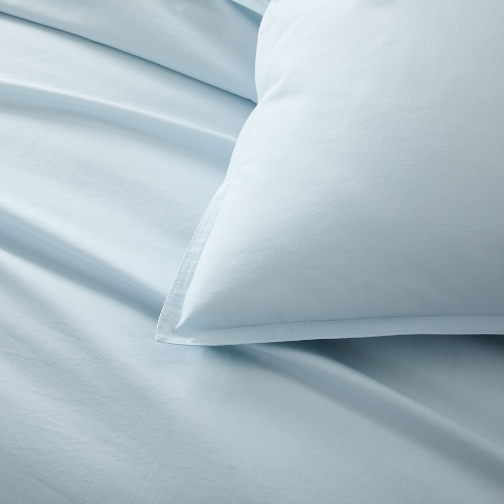Organic Washed Cotton Percale Duvet Cover + Pillowcases - Lightest Blue