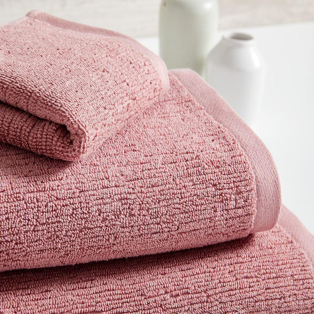 Organic Textured Towels - Pink Stone