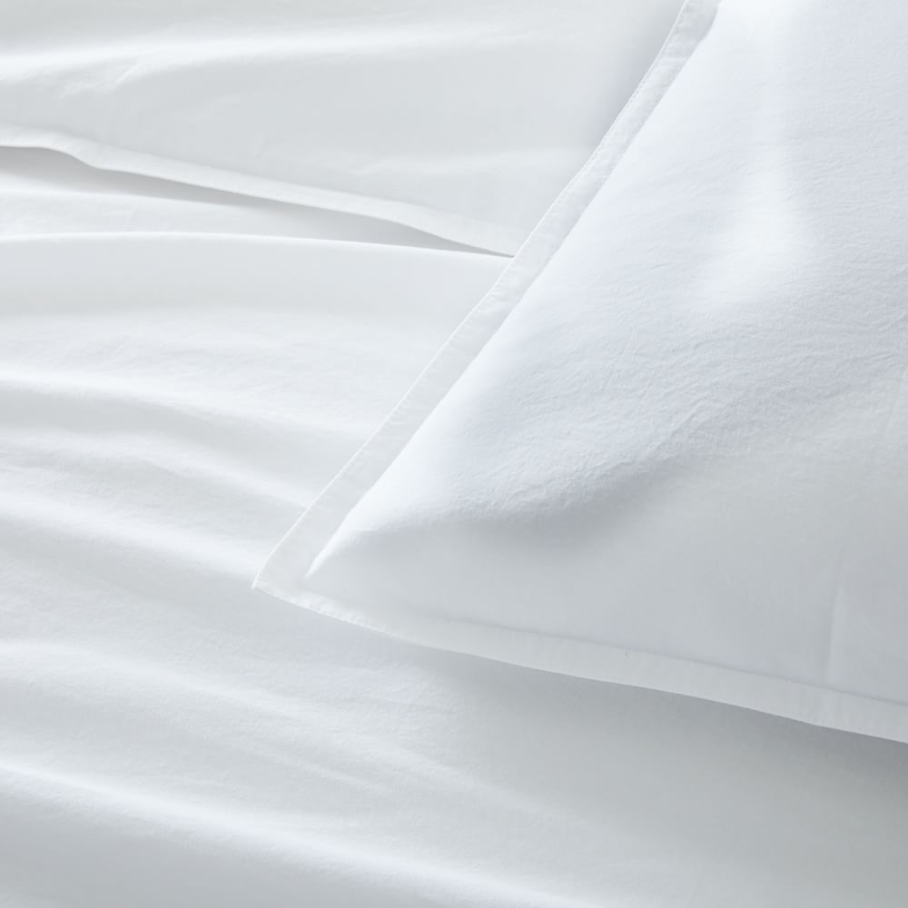 Organic Washed Cotton Percale Duvet Cover + Pillowcases - Stone White