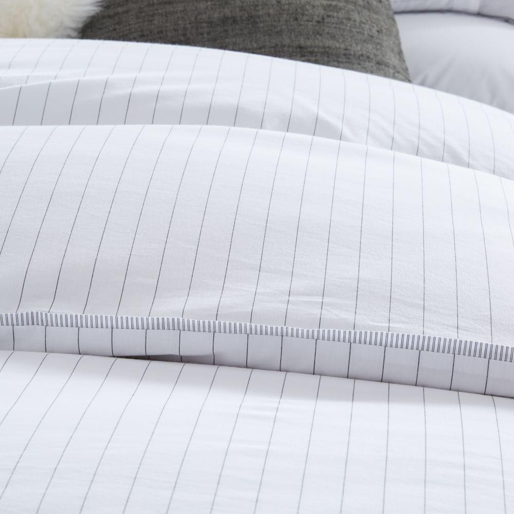 Organic Washed Cotton Stripe Duvet Cover + Pillowcases - Slate