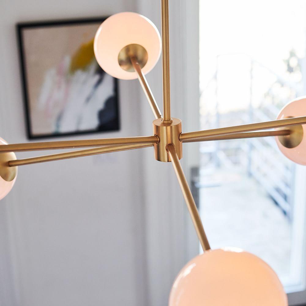 Staggered Glass 6-Light Chandelier - Milk/Antique Brass