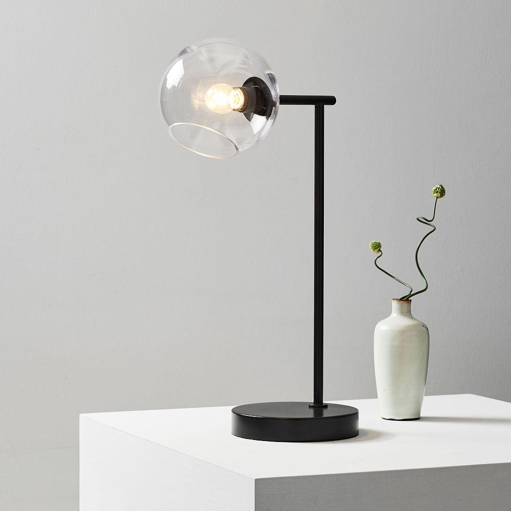Staggered Glass Table Lamp + USB - Dark Bronze