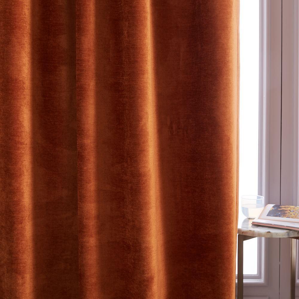Worn Velvet Curtain + Blackout Lining - Copper
