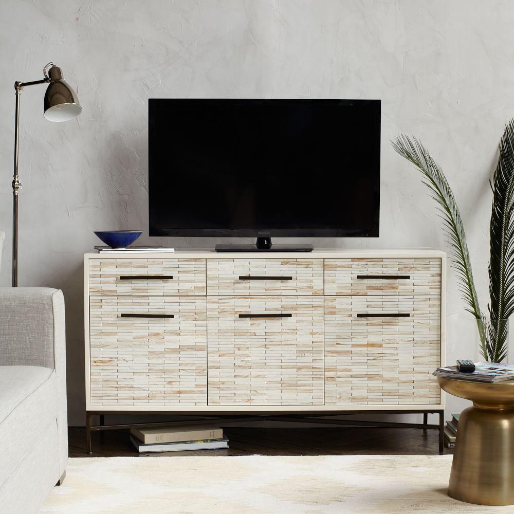 Wood Tiled Media Console (137 cm)